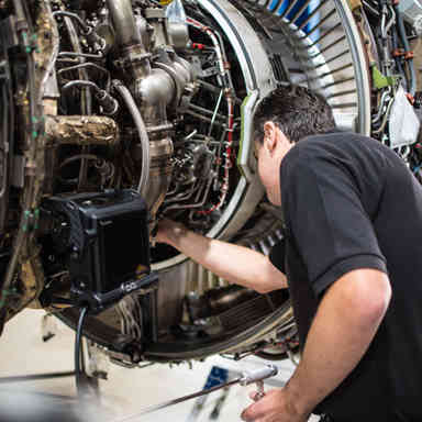 Borescope on jet engine
