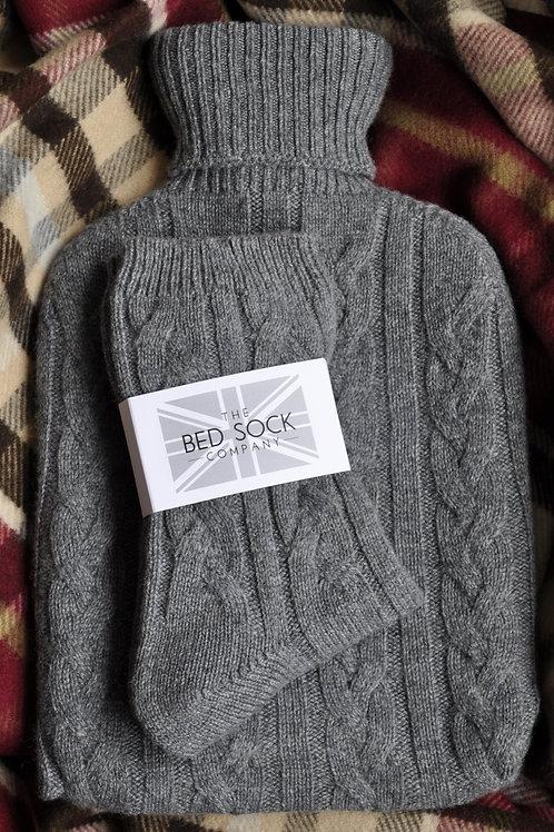 Derby Grey Cashmere Hotwater Bottle & Bedsock Set
