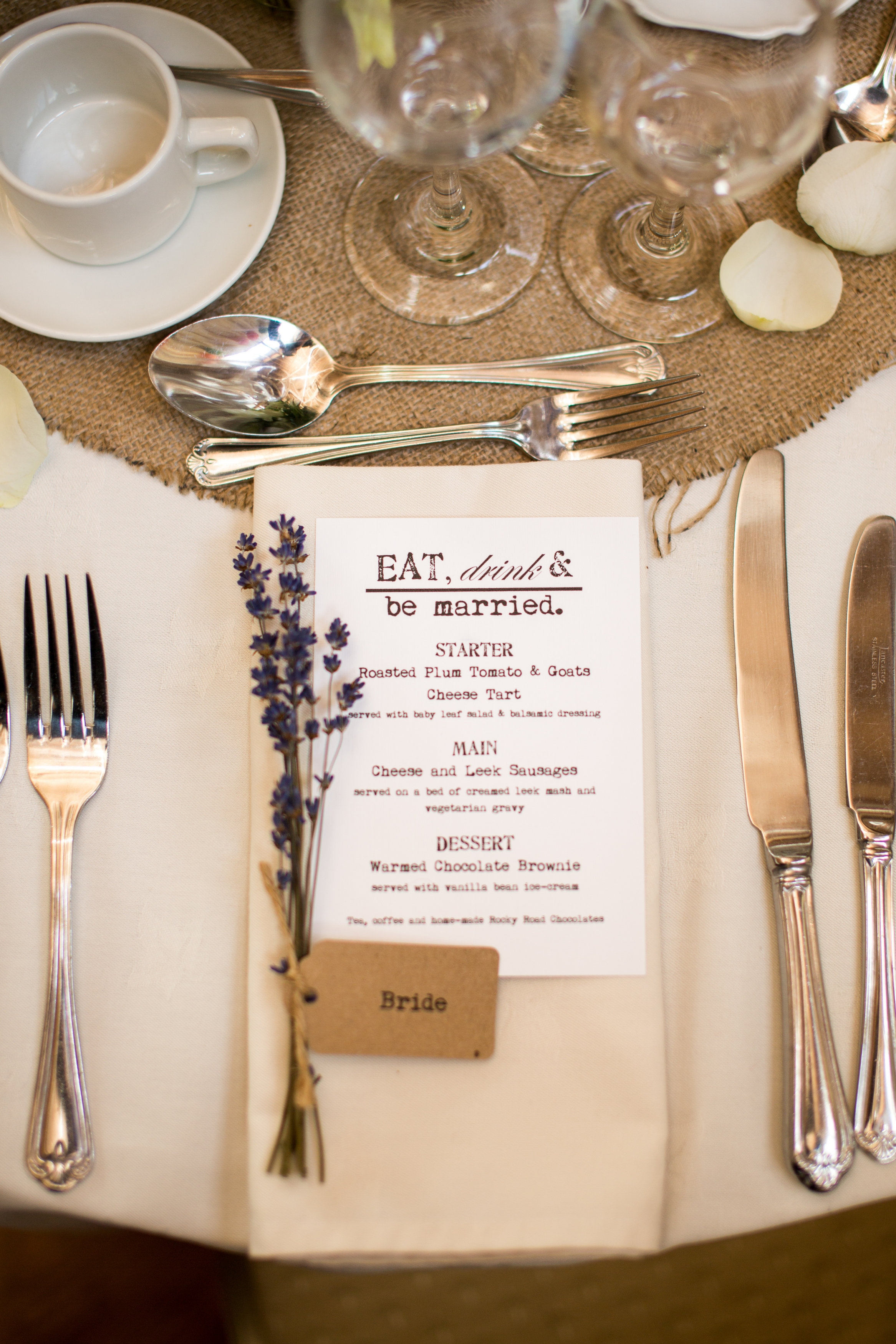 Wedding Breakfast Menu Idea