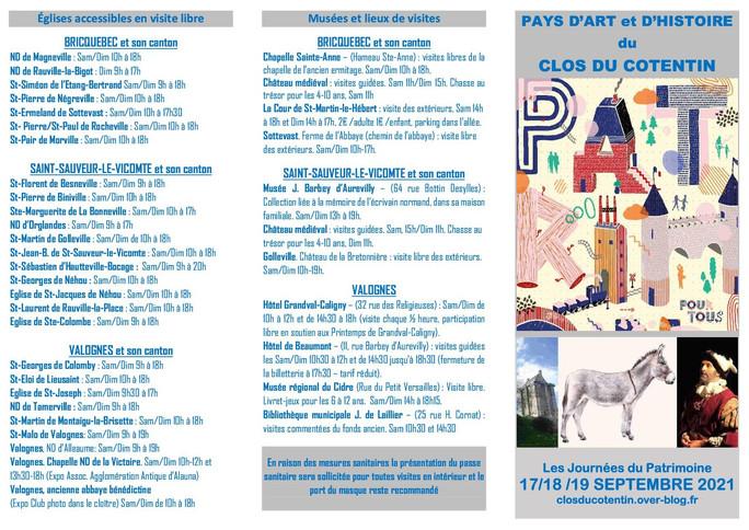Programme des Journées du  Patrimoine du Pays d'art et d'histoire du Clos du Cotentin 2021