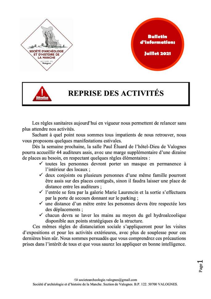 Bulletin d'infos - juillet 2021