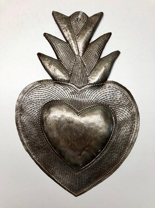 Large Metal Flaming Heart
