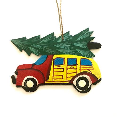 Christmas Tree on Car Ornament