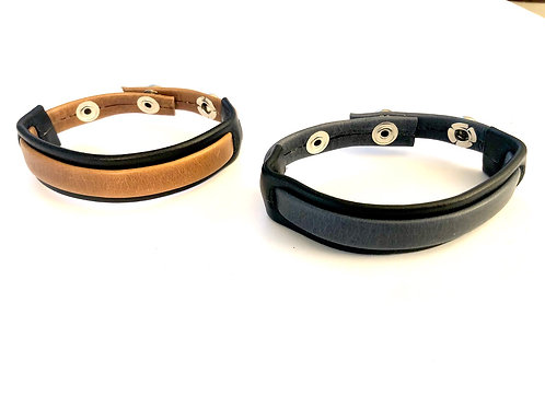 Two-Tone Leather Bracelet