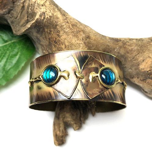 Paua Ocean Brass Cuff