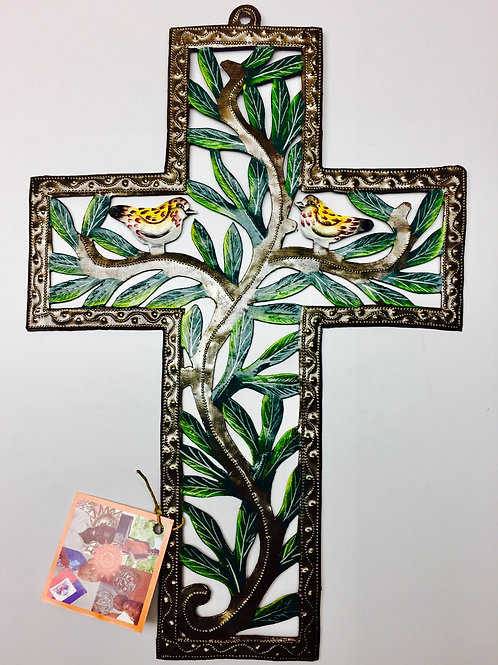 Painted Cross with Birds