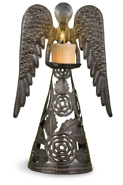 Standing Rose Angel Candle Holder