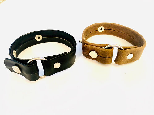 Leather With Ring Bracelet