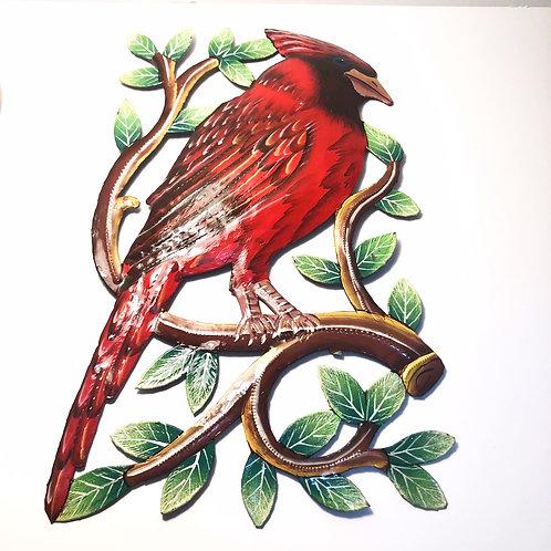 Painted Cardinal Metal Art