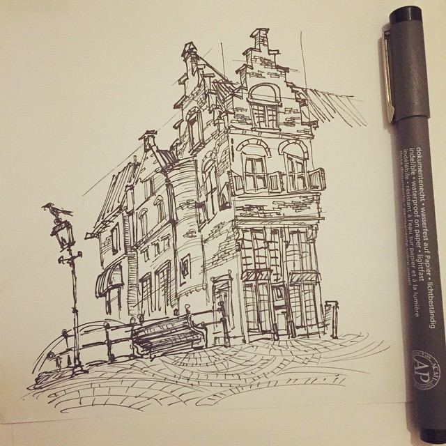 My favourite house in Delft  #sketch #urbansketch #draw #drawing #sketchbook #illustration #ink #pen