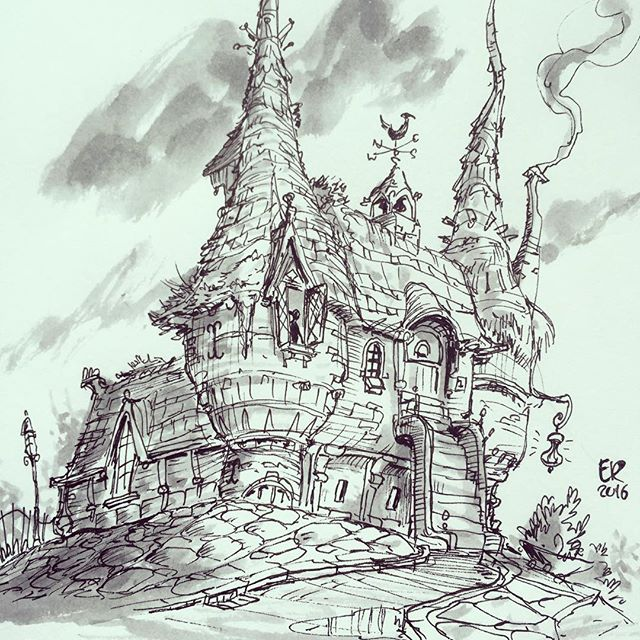 And the  final sketch! #doodle #house #fantasy #daily_sketch #drawing #draw #illustration #instaart