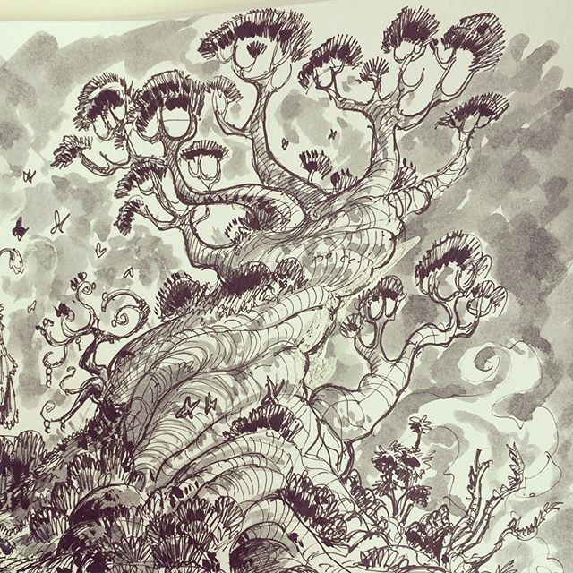 Tree crop #inktober #ink #sketch #inkwash #sketchbook #drawing #illustration #conceptart #drawing #d