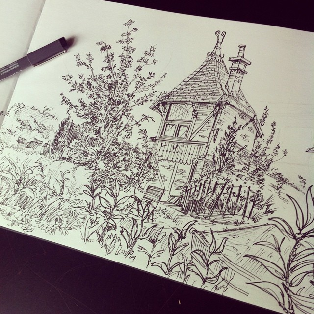 Finally started doing outdoor sketches again _) #sketch #sketchbook #ink #doodle #illustration #arch
