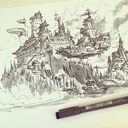 Another castle thing, added some airships this time _) #inktober #inkwash #ink #sketch s#sketchbook