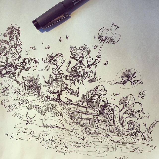 2 #sketch #sketchbook #drawing #pen #pensketch #childrensbook #goblin #girl #moving #design #concept