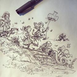 2 #sketch #sketchbook #drawing #pen #pensketch #childrensbook #goblin #girl #moving #design #concept