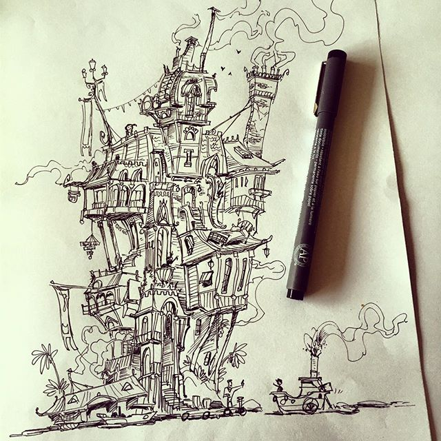 And the complete drawing _) #sketchbook #ink #conceptart #concept #illustration #doodle #draw #drawi