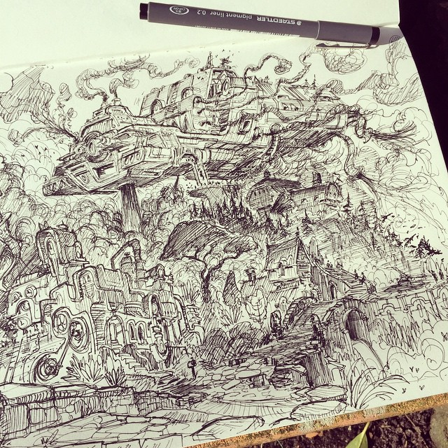More steampunk sketchbook stuff! #sketch #sketchbook #draw #drawing #illustration #art #artist #2d #