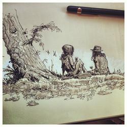 Sketch done in the #paleistuin in #denhaag #sketch #sketchbook #illustratie #illustration #draw #dra