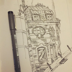 Cool house I walked by while in Brussel a while back #sketch #sketchbook #draw #drawing #brussel #de