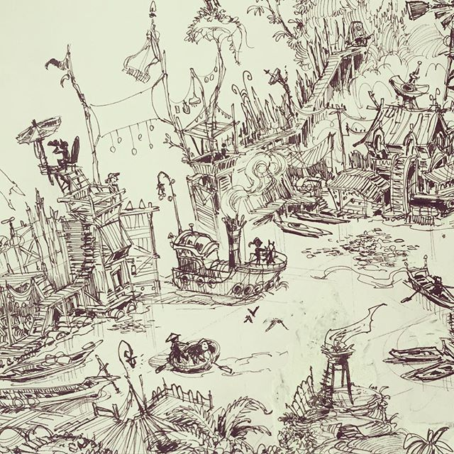 Crop of a larger piece I've been working on _) #sketchbook #ink #conceptart #concept #illustration #