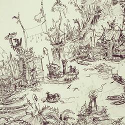 Crop of a larger piece I've been working on _) #sketchbook #ink #conceptart #concept #illustration #