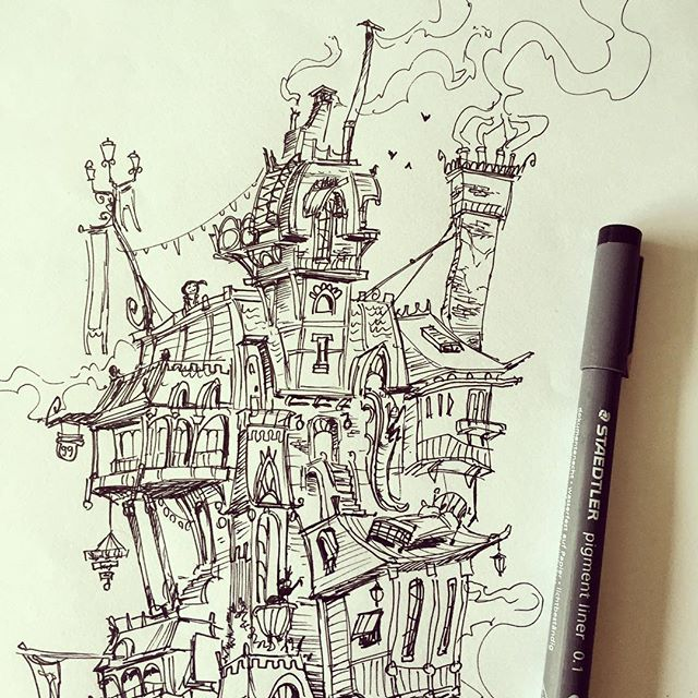 House sketch #crop #sketchbook #ink #conceptart #concept #illustration #doodle #draw #drawing #doodl