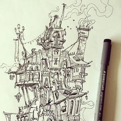 House sketch #crop #sketchbook #ink #conceptart #concept #illustration #doodle #draw #drawing #doodl