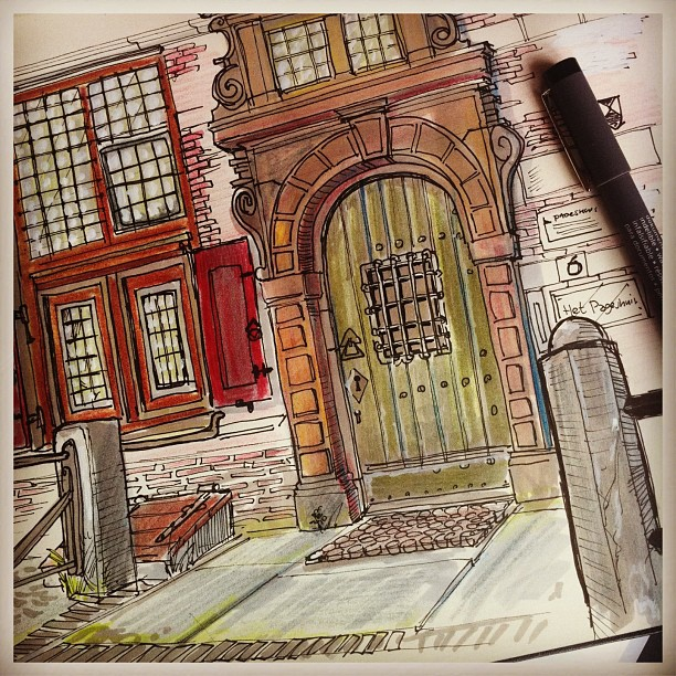 Another outdoor sketch #Pageshuis #Denhaag #coloredpencil #marker ##doodle #sketch #sketchbook #draw