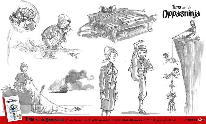 """Childrens' book """"Timo en de oppas ninja"""""""