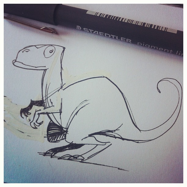 Last doodle for today #dinosaur #pen #sketch #sketchbook #character #draw #drawing #design #concepta