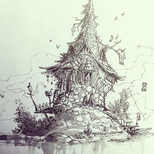 Lake house doodle #sketchbook #sketch #drawing #sketch_daily #artgallery #arts_help #artsanity #inst