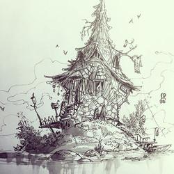 Lake house doodle #sketchbook #sketch #drawing #sketch_daily #artgallery #arts_help #artsanity #inst