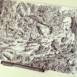 The completed lineart #staedler #staedlerpens #setdesign #animation #sketch #sketchbook #draw #drawi