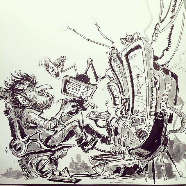 'Game on' drawing #game #gaming  #goblin #sketch #sketchbook #drawing #pen #pensketch #tekenen  #gob