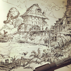 Jumping on the #inktober bandwagon, here's a first pensketch of a windmill cottage _) #concept #sket