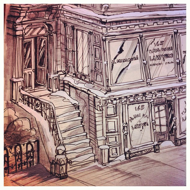 Closeup _) #30s #Newyork #building #sketch #sketchbook #illustratie #illustration #draw #drawing #ar
