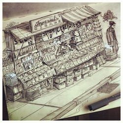 Here's some more visual development for my project; a 'depressed' newsstand #30s #visualdevelopment