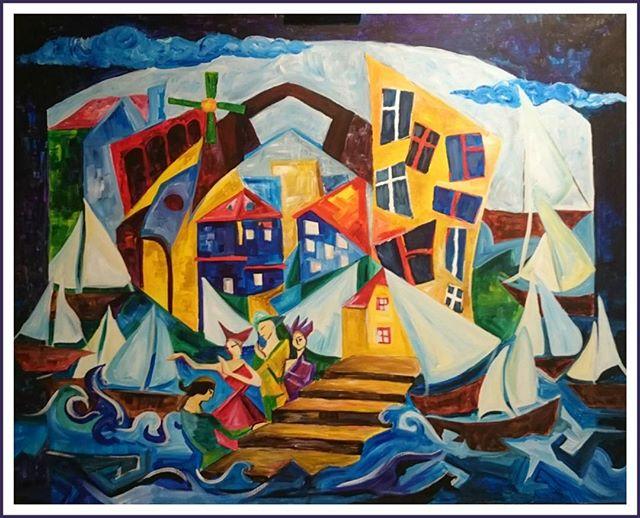 Закончили с _eq_cvbdn авангардную картину _Геометричная Венеция_ 100x80 Вы можете ее увидеть в доме