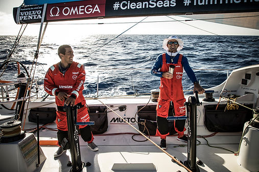 two ocean racers sailing in the atlantic, 11th Hour Racing sponsor