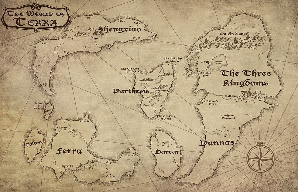 The map of Terra from the fantasy novel Hayley and the Berserker King.