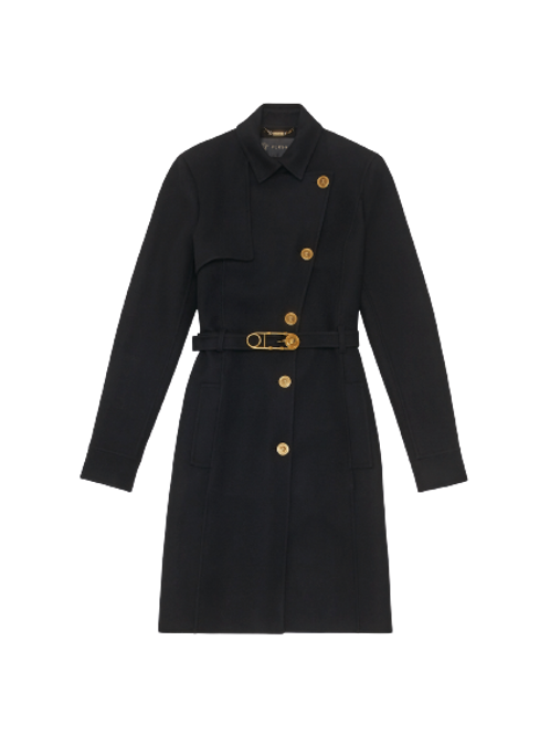 SAFETY PIN BELTED WOOL COAT
