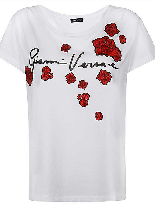 EMBROIDERED ROSES T-SHIRT