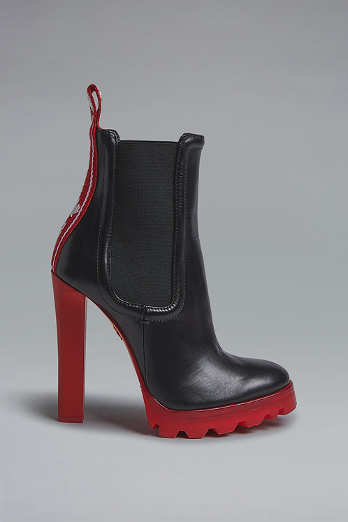 Red Tape Stiletto Ankle Boots