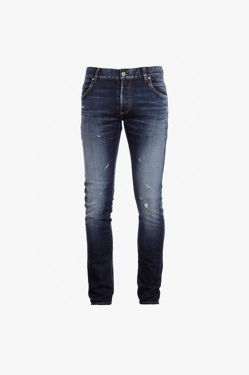 Slim fit faded blue cotton jeans