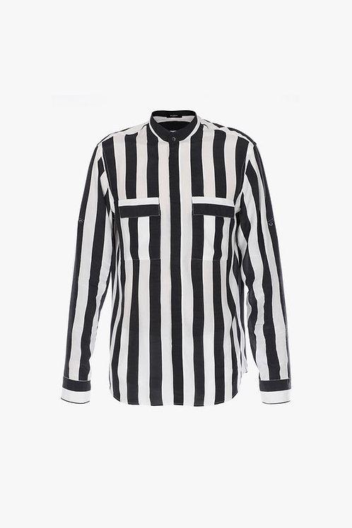 Black and white striped viscose shirt