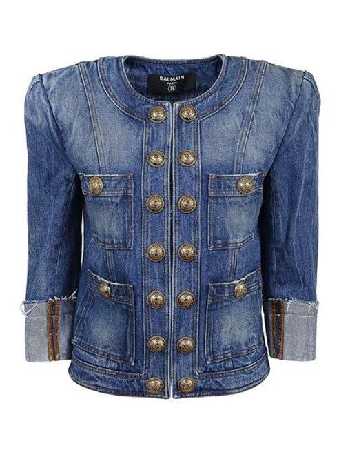 BALMAIN square-shoulder denim jacket