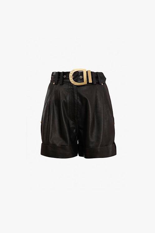 High-waisted black leather shorts