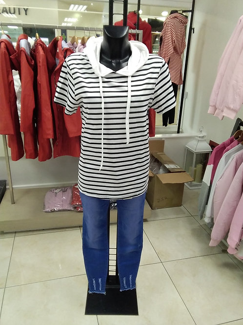 Cream /navy striped hoodie