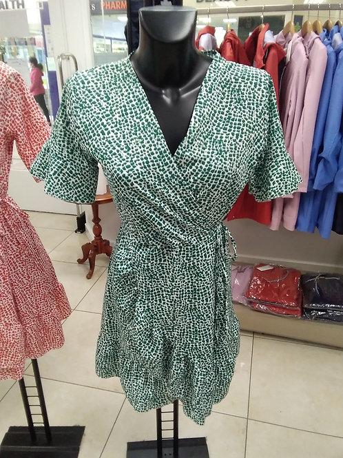 Ditzy green print dress